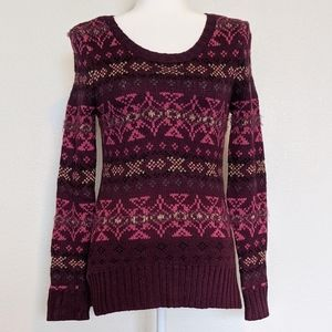 NWOT Maurices Fair Isle Maroon Fuzzy Sweater XS